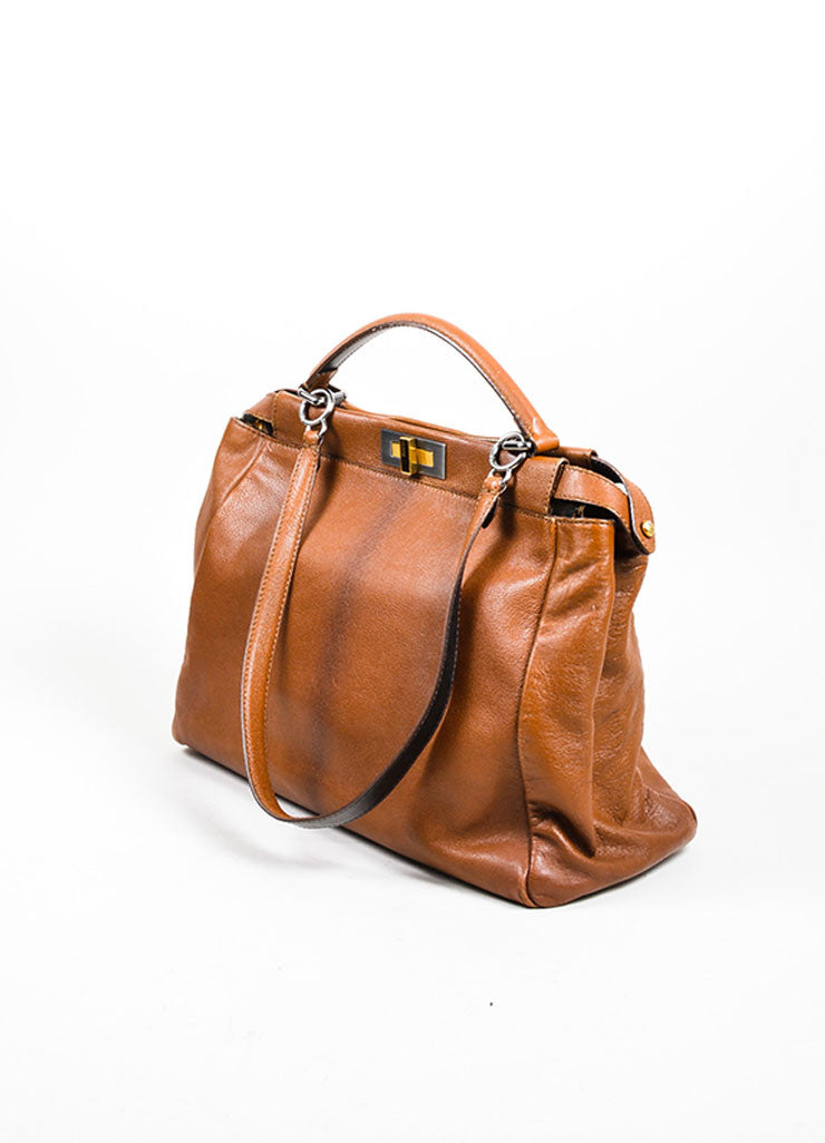 "Fendi ""Peekaboo"" Brown Leather Satchel Bag Sideview"