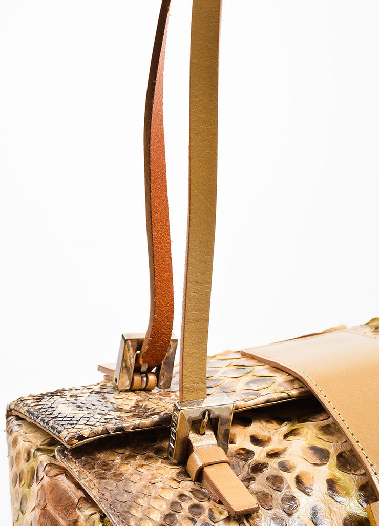 Brown and Beige Fendi Python Leather Box Bag Detail 2