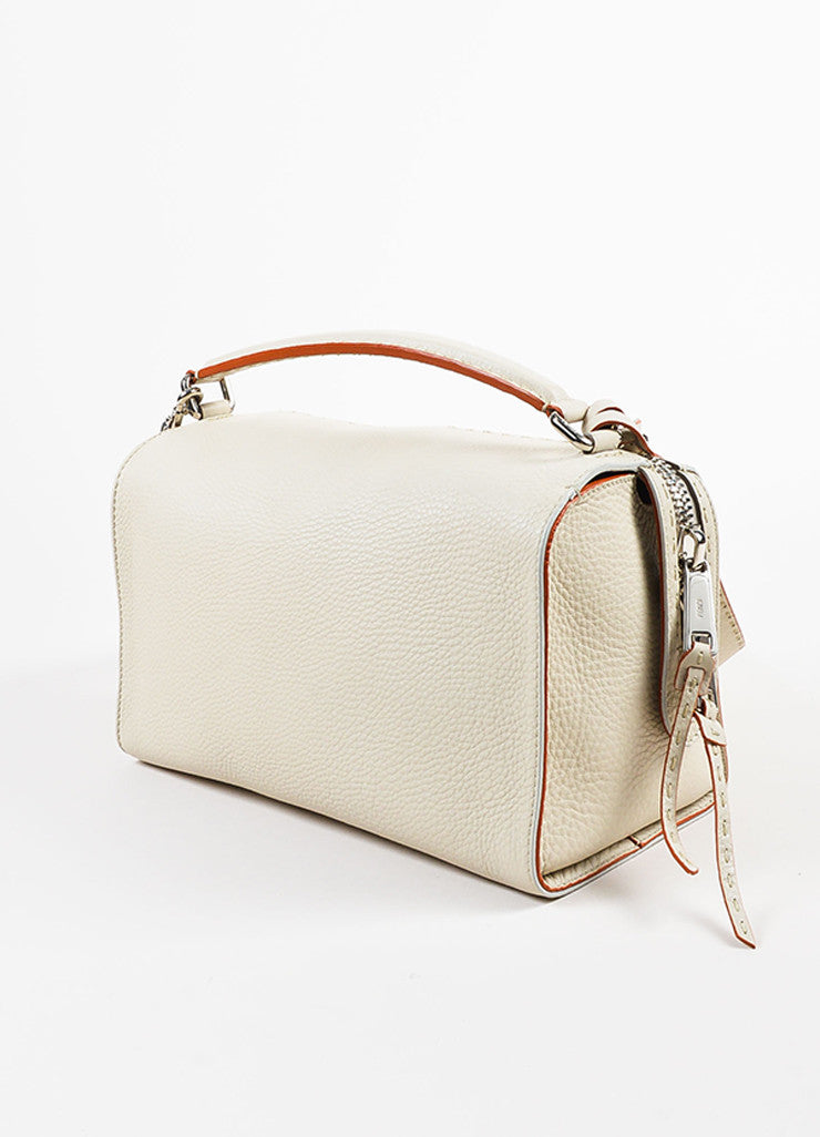 "Fendi Cream Leather Red Trim Double Silver Toned Zipper ""Lei Selleria"" Bag Sideview"