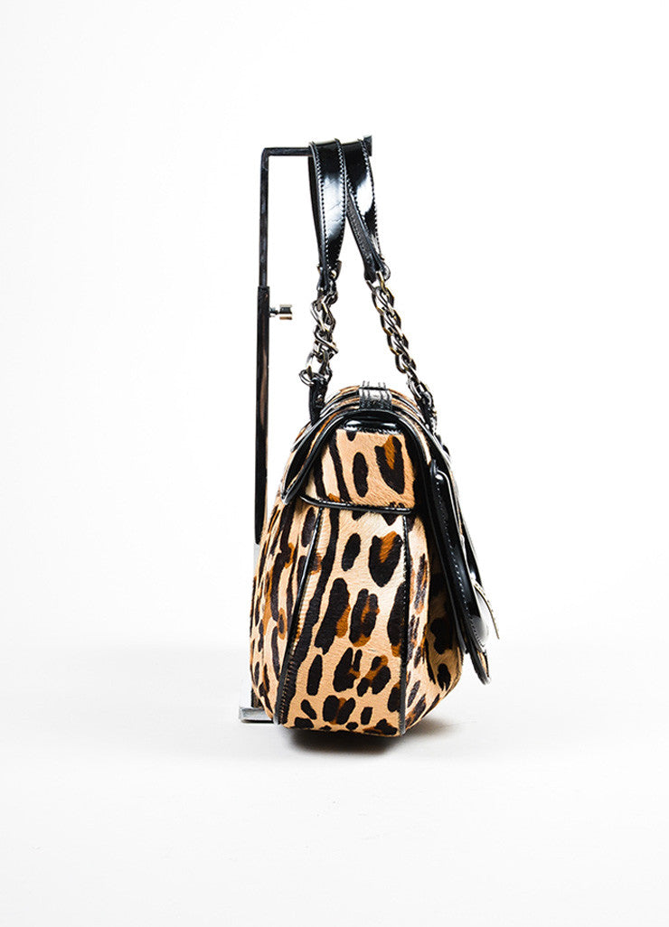 "Leopard Print Fendi Pony Hair Patent Leather Buckle ""B Bag"" Sideview"