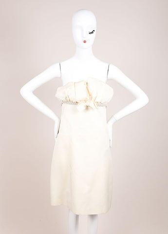 Giambattista Valli Cream Wool and Silk Blend Pleated Chain Embellished Dress Frontview