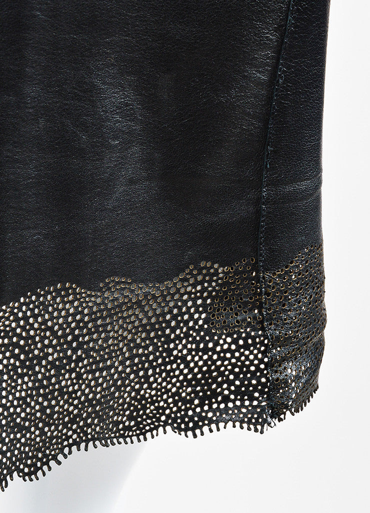 Gucci Black Perforated Leather Scalloped Hem Pencil Skirt Detail