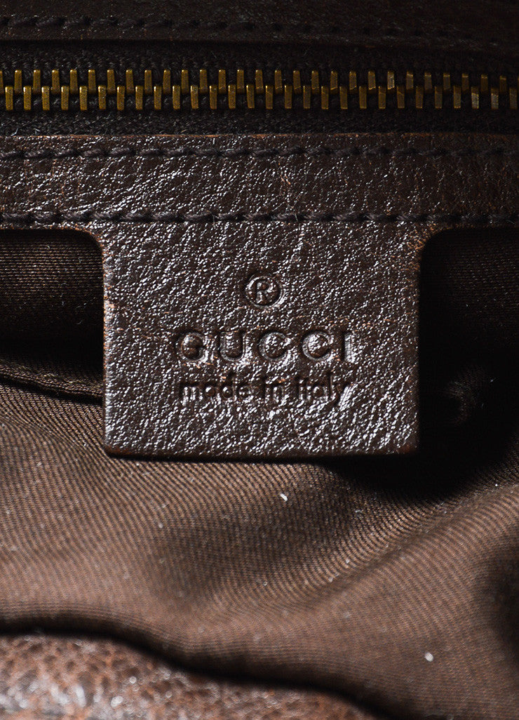 "Brown and Tan Gucci Canvas Leather 'GG' Monogram ""Interlocking"" Medium Hobo Bag Brand"