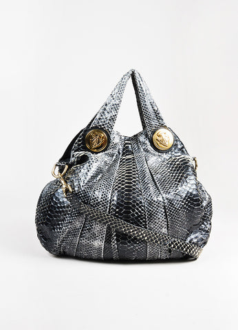 "Gucci Grey Black Python Leather ""Hysteria"" Hobo Shoulder Bag Front"