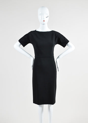 Black Gucci Stretch Jersey Mesh Panel Short Sleeve Sheath Dress Frontview