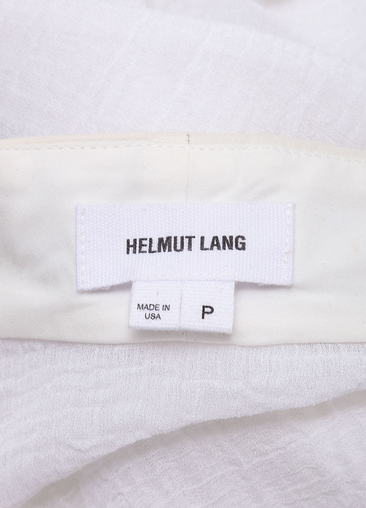 Helmut Lang White Lightweight Sheer Knit Leather Trim Crop Sleeve Jacket Brand