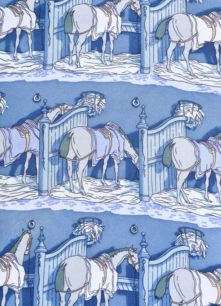 "Hermes Blue Multicolor Silk Twill Horse Print ""Ecuries"" Handkerchief Scarf Detail"