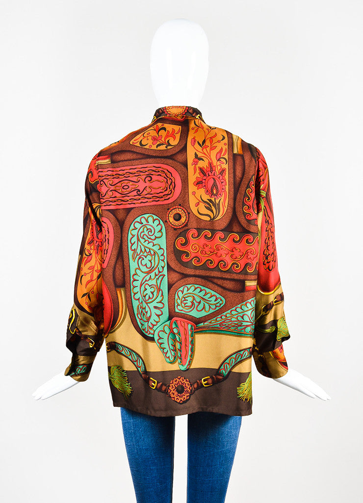 Hermes Brown, Red, and Green Silk Harness Tassel Print Button Down Shirt Backview
