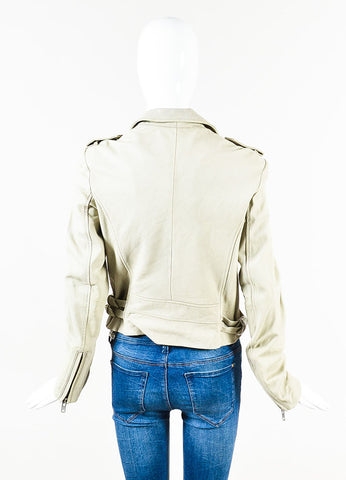 "IRO Beige Leather SHW Motorcycle ""Asheville"" Zip Up Jacket Backview"