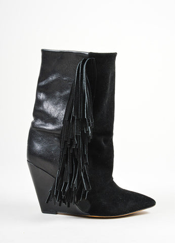 "Black Isabel Marant Leather Suede Fringe ""Mony"" Mid Calf Wedge Boots Sideview"