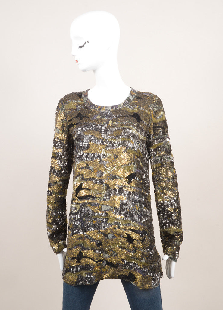 "Isabel Marant New With Tags Green and Multicolor Silk Sequin Long Sleeve ""Edilon"" Tunic Top Frontview"