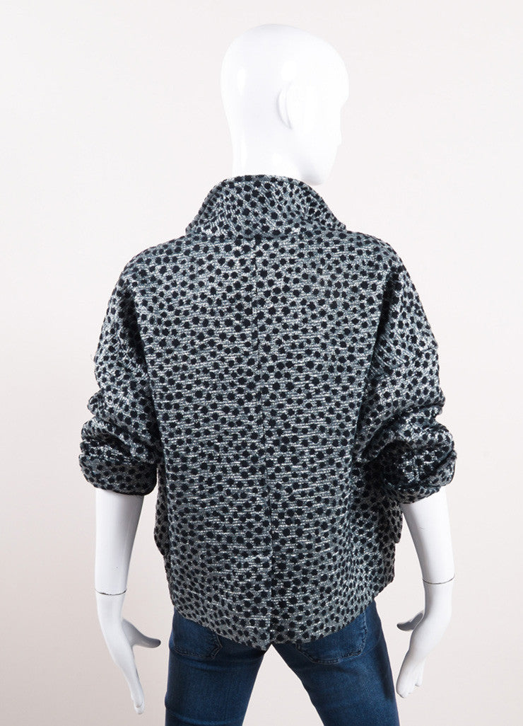 Isabel Marant Black and Metallic Silver Cotton Polka Dot Cropped Jacket Backview