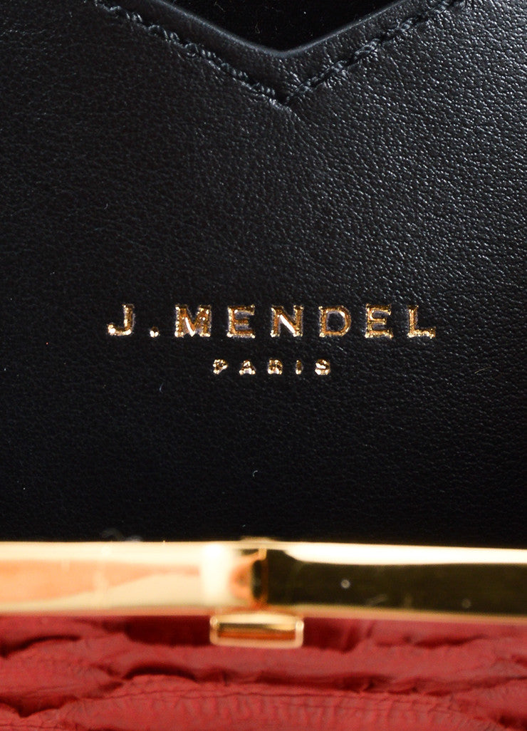J. Mendel Raspberry Red Python Leather and Metal Clutch Bag Brand