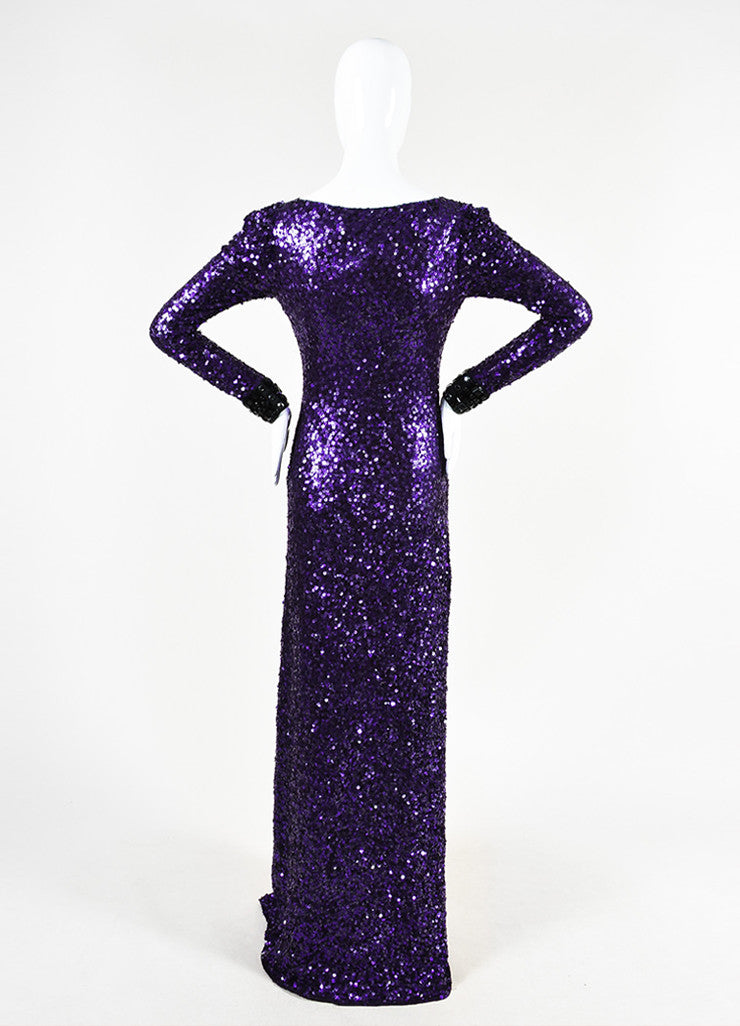 Jenny Packham Purple Sequin Embellished Cuff Long Sleeve Gown Backview