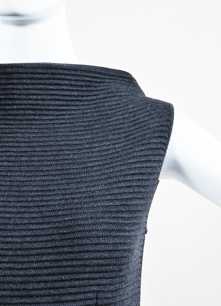 Jil Sander Dark Grey Wool Ribbed Knit Sleeveless Sweater Dress Detail