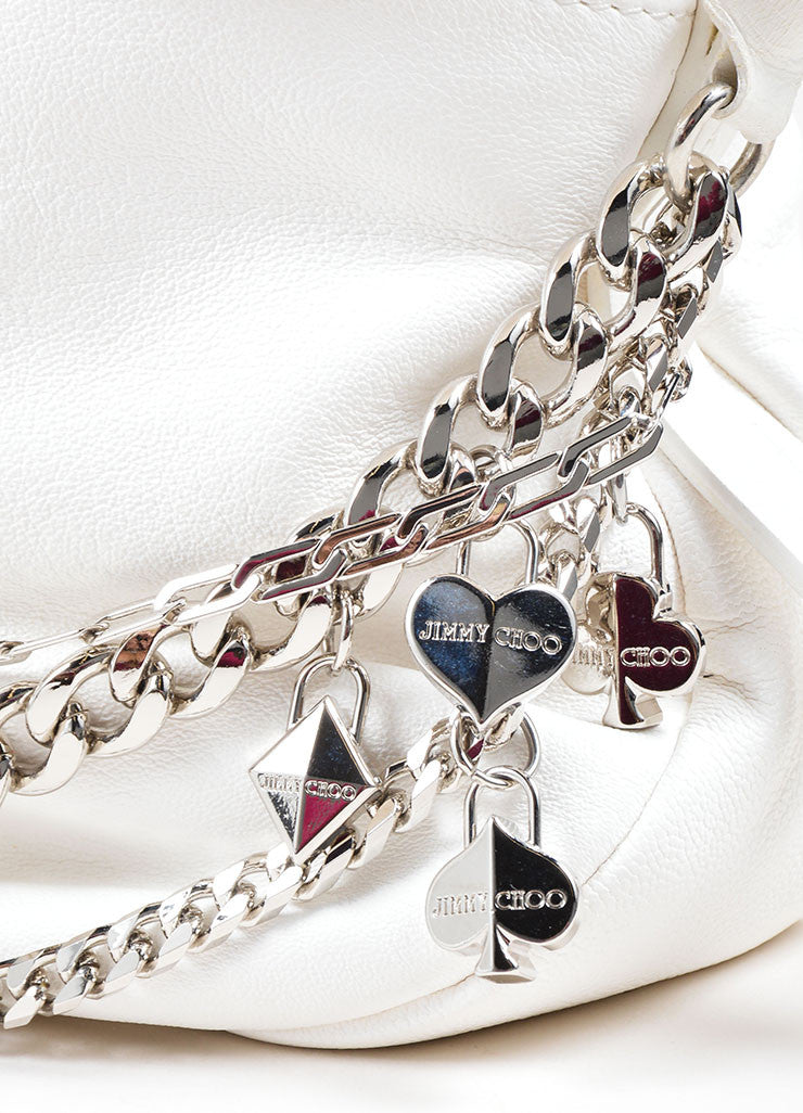 Jimmy Choo White Leather Silver Tone Chain Charm Foldover Shoulder Bag Charm