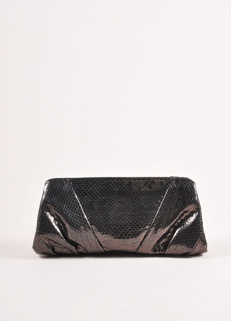 "Judith Leiber Smoke Grey Snakeskin Leather Gathered ""Reem Ayers"" Clutch Bag Frontview"