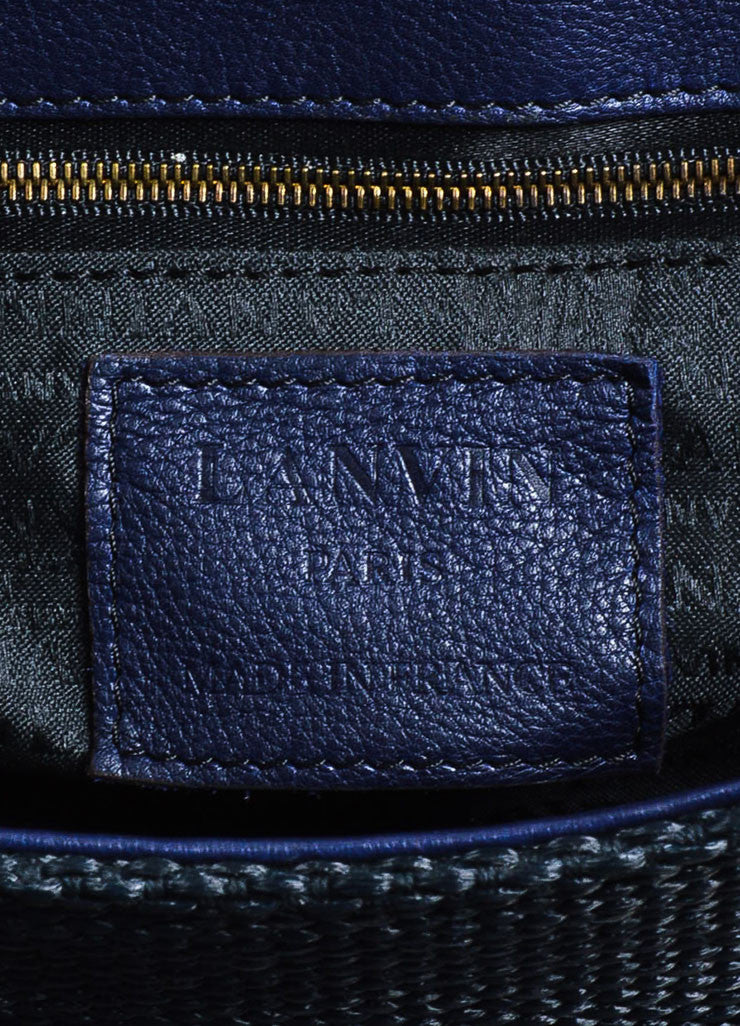 "Black and Navy Blue Lanvin Woven Leather ""Hero"" Chain Shoulder Bag Brand"