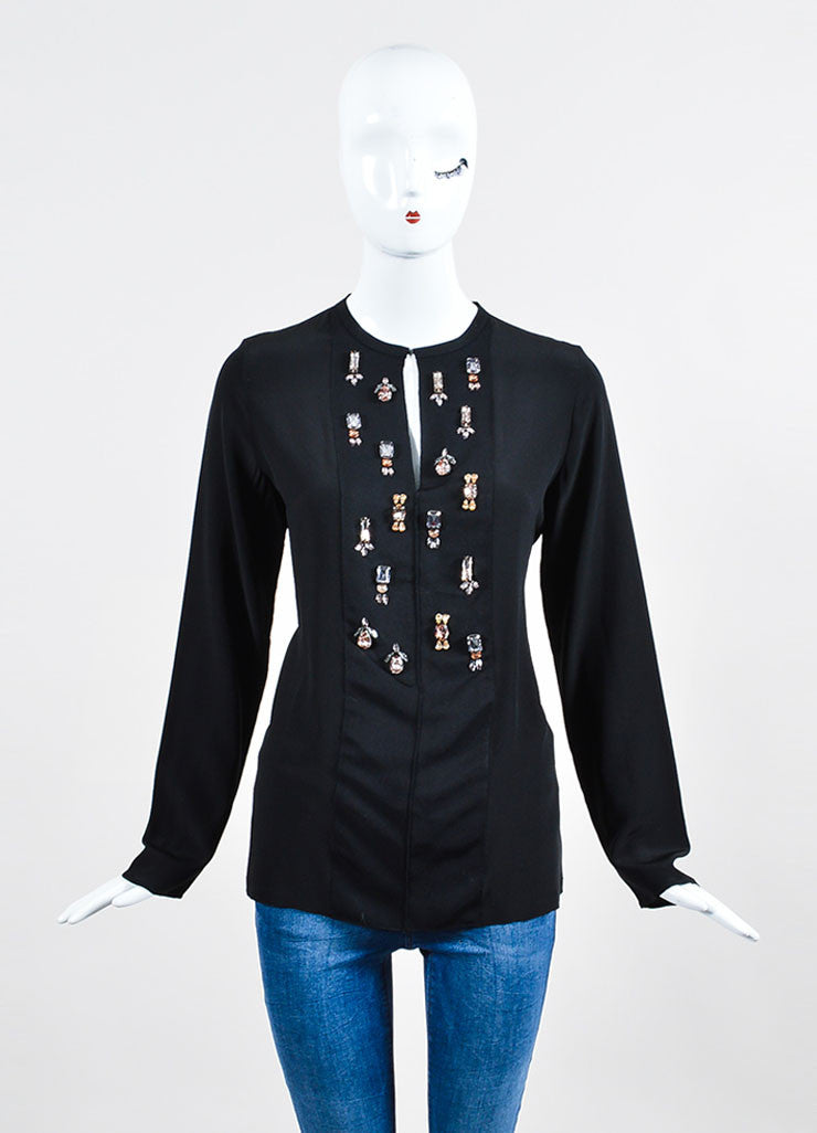 Black Lanvin Silk Ribbon Bejeweled Long Sleeve Blouse Frontview
