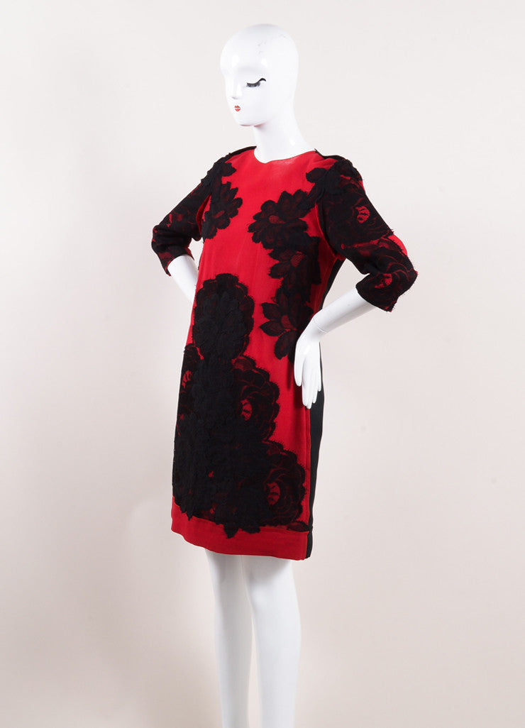 "Lanvin Red and Black Lace Applique ""Les 10 Ans"" Shift Dress Sideview"