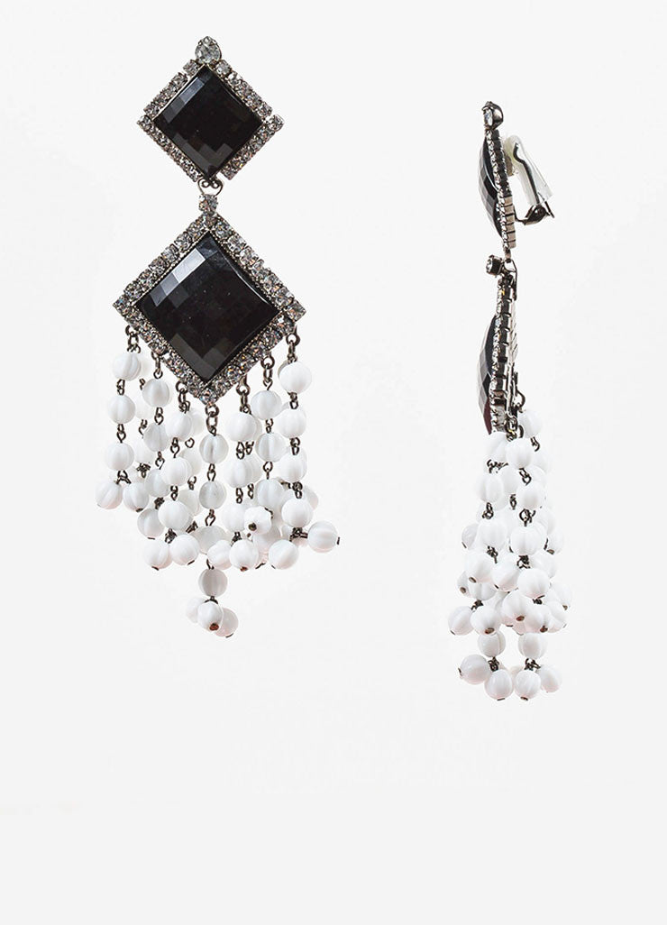 Lawrence Vrba Black and White Crystal Beaded Tassel Clip On Statement Earrings Sideview