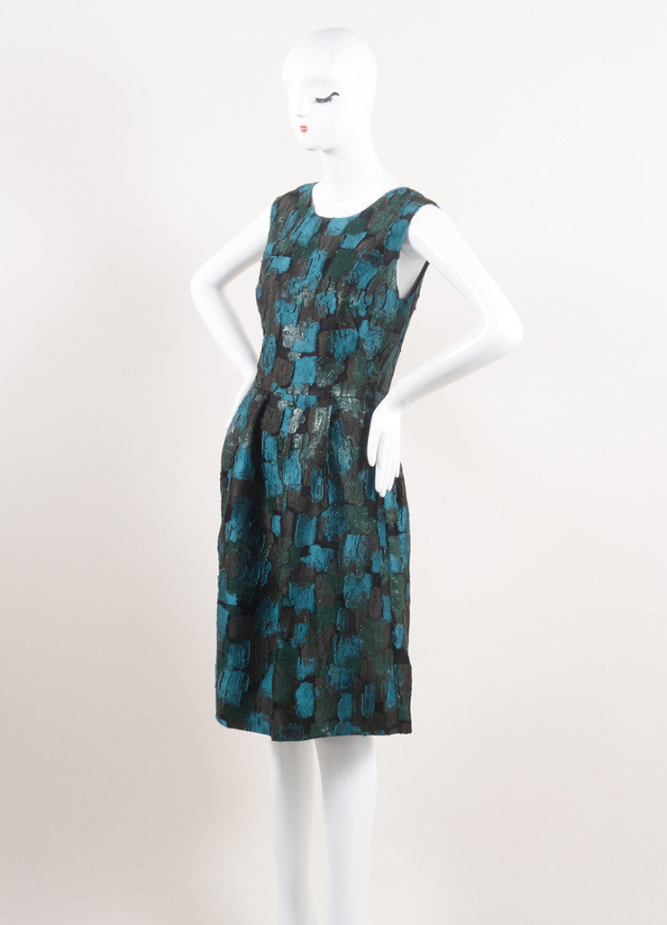 Lela Rose New With Tags Green and Black Silk Patchwork Sleeveless A-Line Dress Sideview