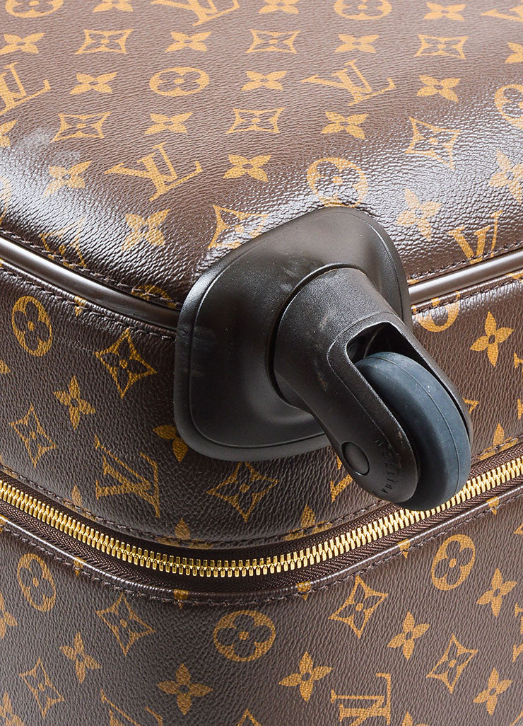 "Louis Vuitton Brown Coated Canvas Monogram ""ZEPHYR 70"" Trolley Luggage Detail"