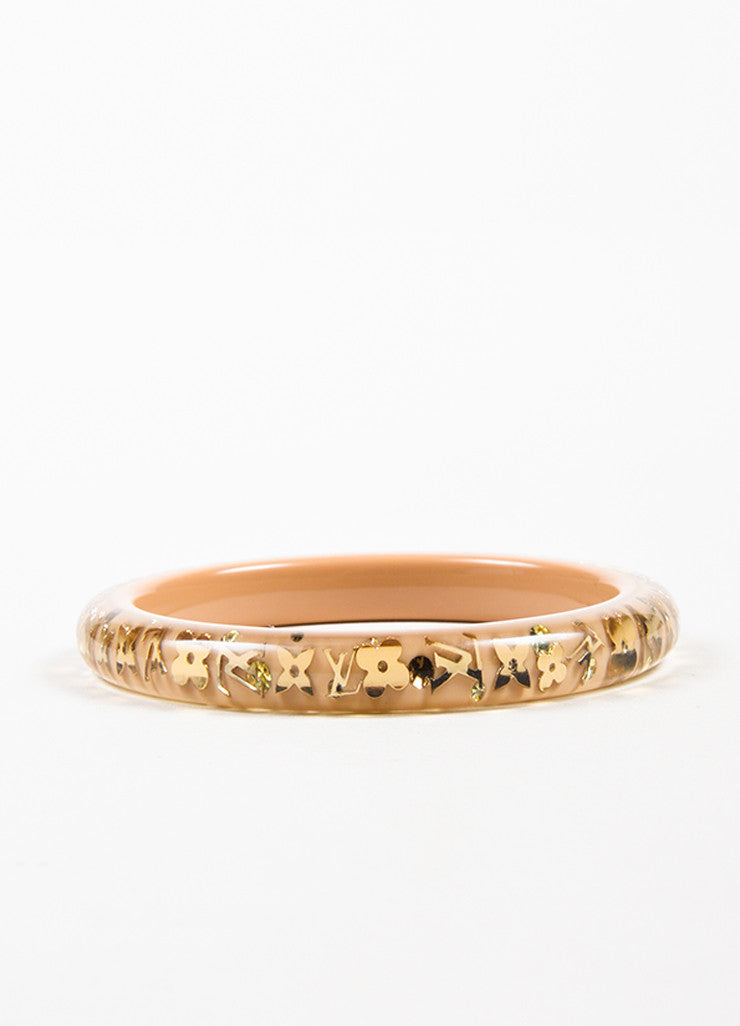 "Louis Vuitton Beige and Gold Toned Resin ""Inclusion TPM"" Monogram Bangle Bracelet Frontview"