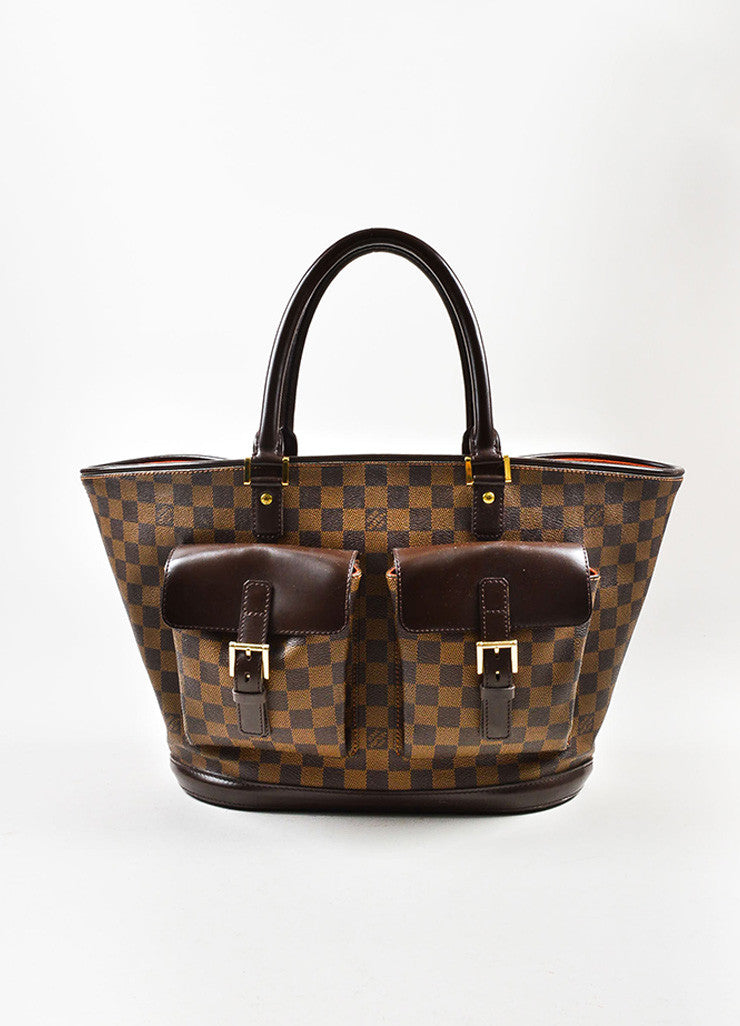 "Louis Vuitton Brown Coated Canvas Leather Trim Damier ""Manosque GM"" Tote Bag Frontview"