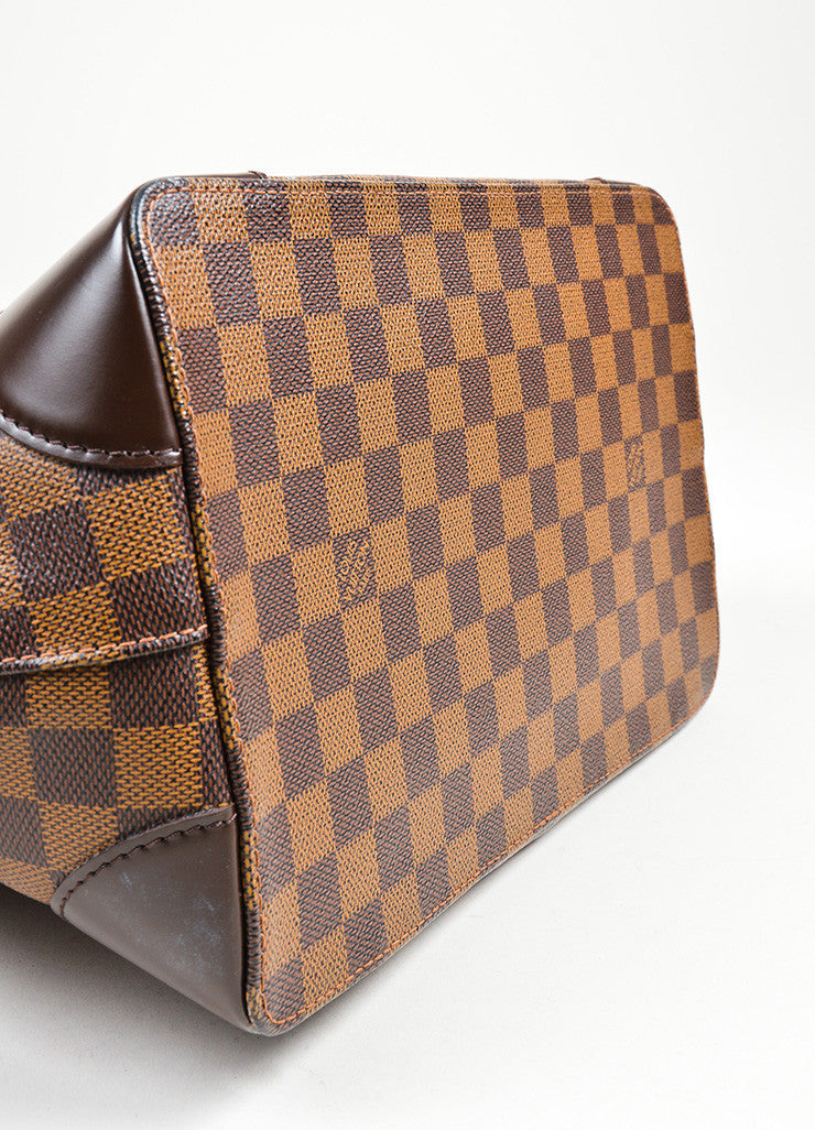 "Brown Louis Vuitton Damier Ebene Coated Canvas ""Hampstead MM"" Bag Bottom View"