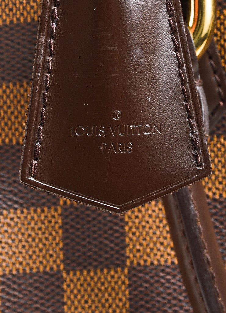 "Louis Vuitton Brown ""Ebene Damier"" Coated Canvas Checkered ""Duomo"" Satchel Bag Brand"