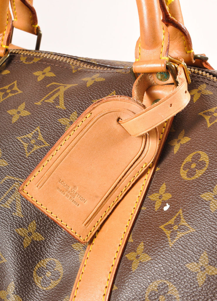 "Louis Vuitton Brown and Tan Coated Canvas and Leather Monogram ""Keepall 60"" Duffel Bag Detail 2"