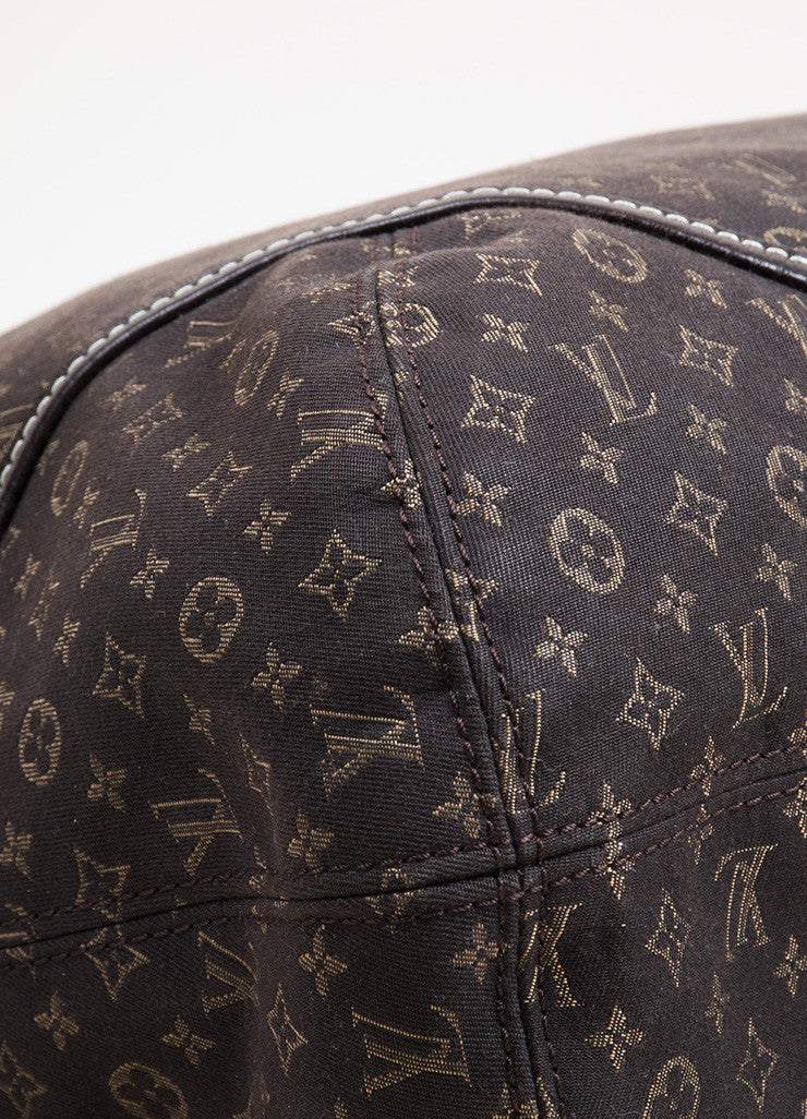 "Dark Brown and Tan Louis Vuitton Canvas Leather Monogram ""Idylle Elegie"" Tote Bag Detail"