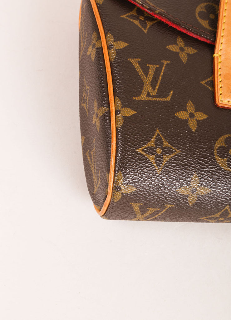 Louis Vuitton Brown Monogram Canvas Flap Handbag Detail