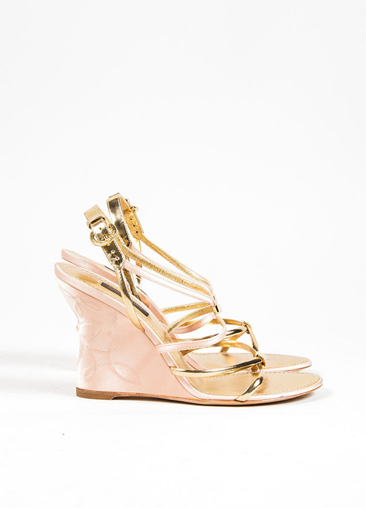 Pink and Gold Metallic Louis Vuitton Satin and Leather Strappy Wedge Sandals Sideview