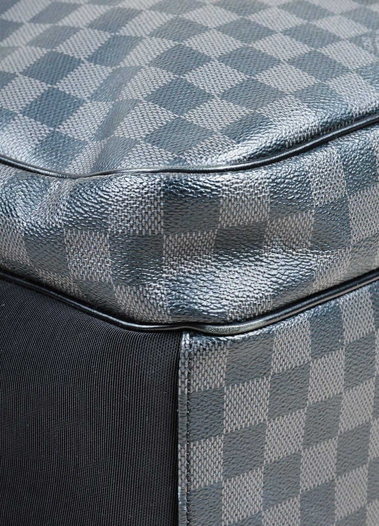 "Men's Louis Vuitton Black and Grey Coated Canvas Damier Graphite ""Michael"" Backpack Detail"