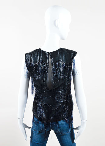 Maison Martin Margiela Black and Navy Metallic Fringe Sleeveless Top Backview