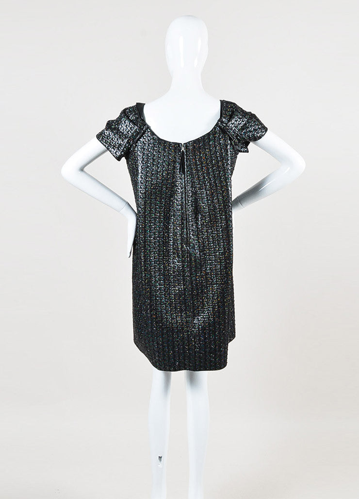 Marc Jacobs Black Iridescent Faux Leather Panel Short Sleeve Dress Backview