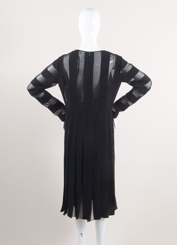 Marc Jacobs New With Tags Black Semi-Sheer Striped and Pleated Crepe Long Sleeve Dress Backview