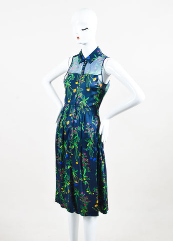 "Marissa Webb Navy and Green Silk Floral Sheer ""Allison"" Buttoned Dress Sideview"