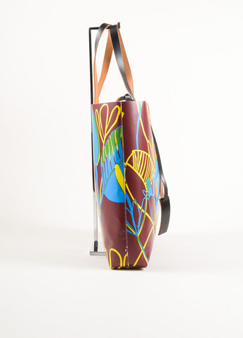 Marni Brown, Blue, and Yellow Floral Print Plastic Wood Cut Tote Bag Sideview