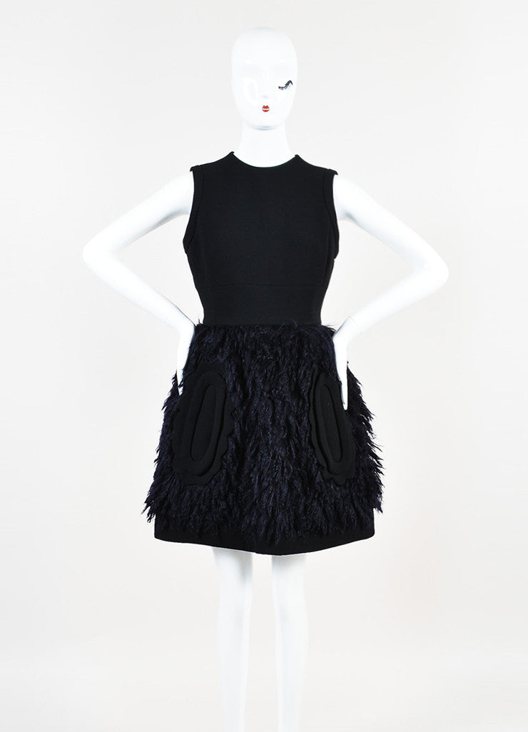 Black and Navy Blue Miu Miu Wool and Mohair Detachable Collar Sleeveless Dress Frontview 2