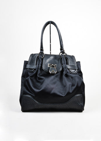 "Black Moschino Satin and Leather Padlock Top Handle ""Muffin"" Satchel Bag Frontview"