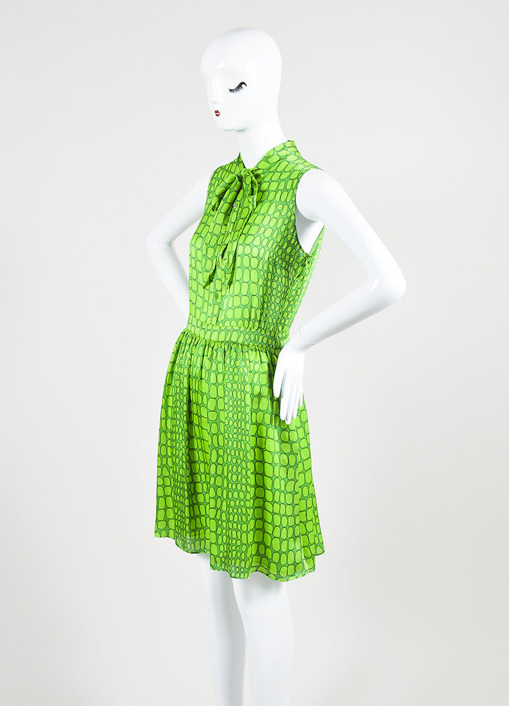 Green Moschino Cheap and Chic Silk Printed Neck Tie Sleeveless Dress Sideview