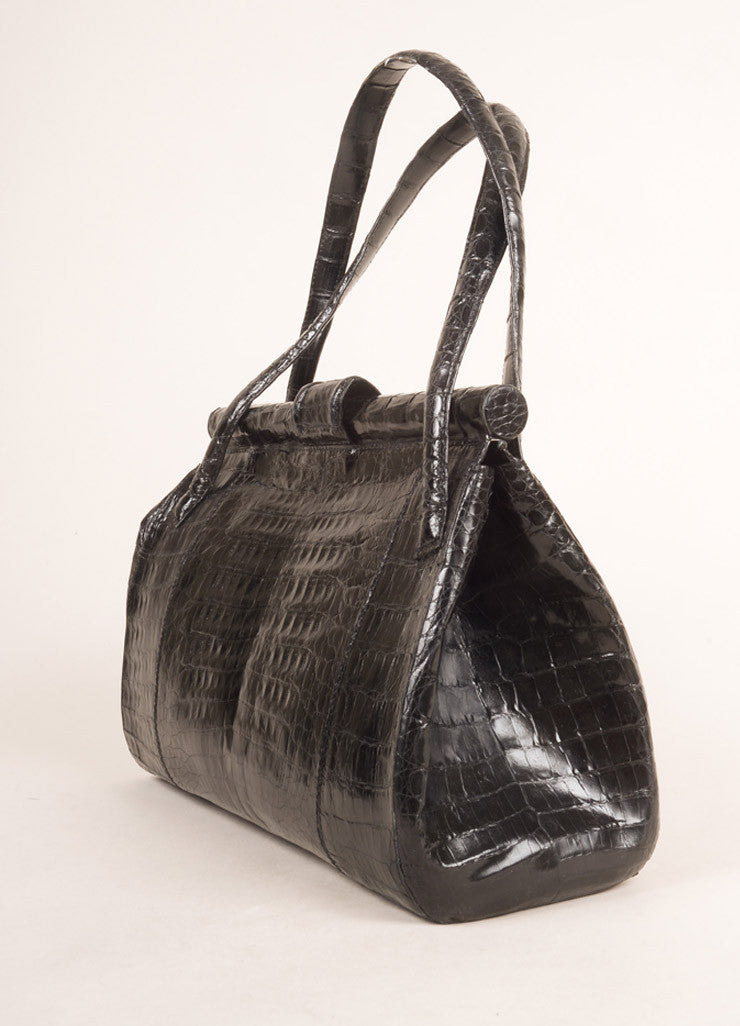 Nancy Gonzalez Black Crocodile Patent Leather Frame Shoulder Bag Sideview