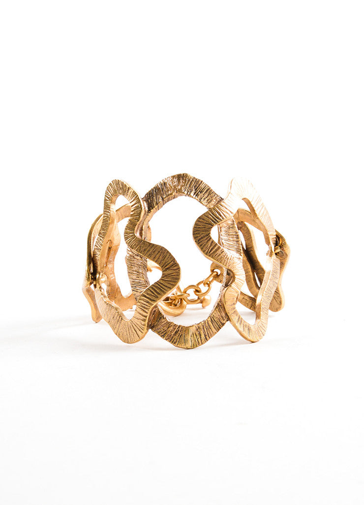 Oscar de la Renta Gold Toned Wavy Cut Out Link Oversized Bracelet Sideview