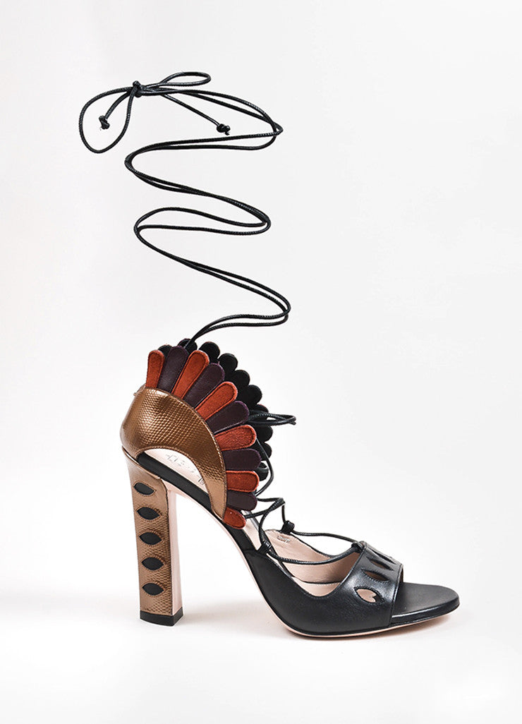 "Paula Cademartori Multicolor Leather ""Lotus"" Lace Up Sandal Sideview"