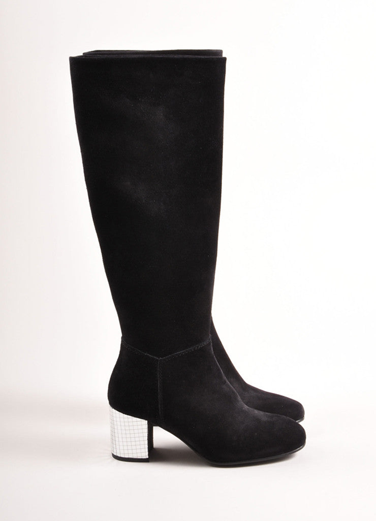 Pedro Garcia Black Suede Leather Mirrored Heel Knee High Boots Sideview