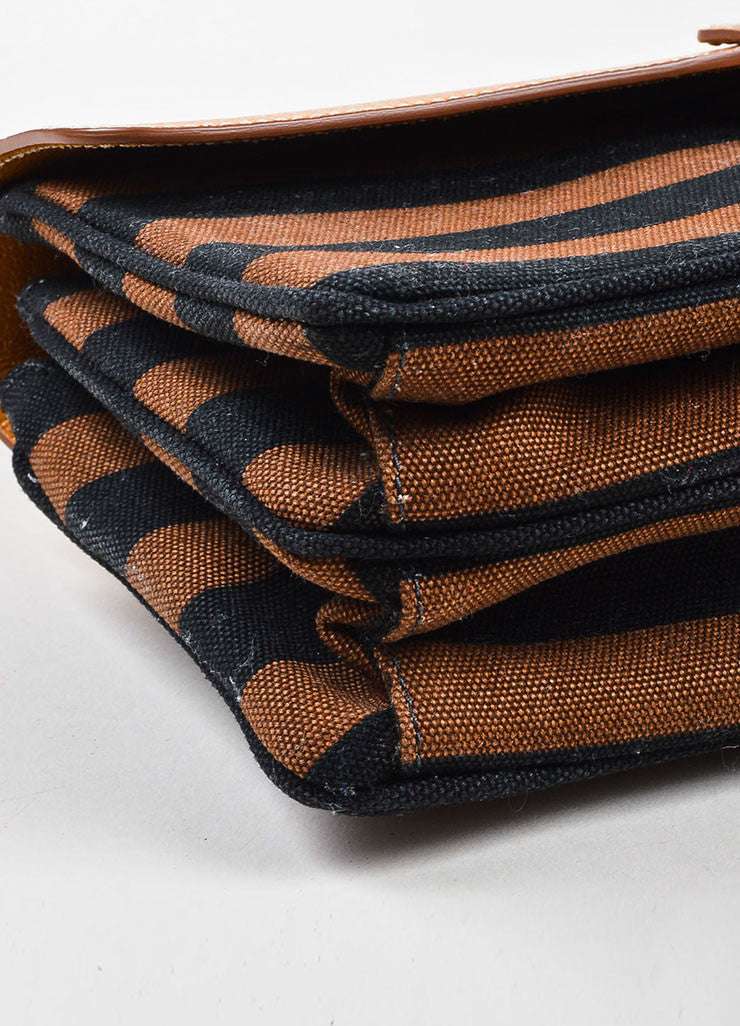 "Prada Tan, Brown, and Black Canvas Leather Striped ""Canapa Righe"" Clutch Bag Detail"