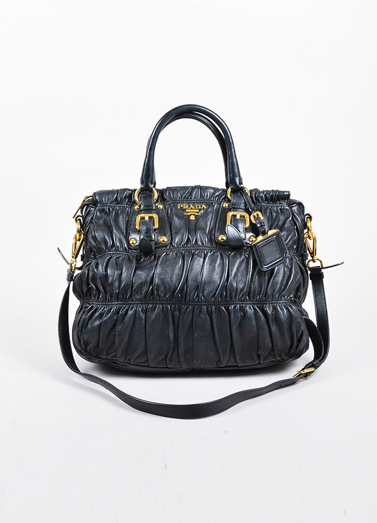 Prada Black Gaufre Leather Gold Toned Dual Handle Ruched Satchel Bag Frontview